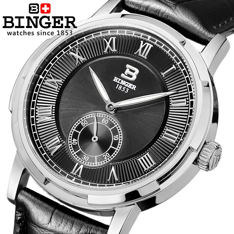Switzerland watches men luxury brand BINGER glow Mechanical Wristwatches leather strap Water Resistant men's watch B 5037 4