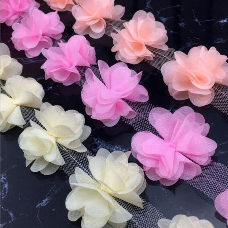 New 1 Yards Flower Petals Chiffon Leaves Trim Wedding Dress Bridal Lace Pick
