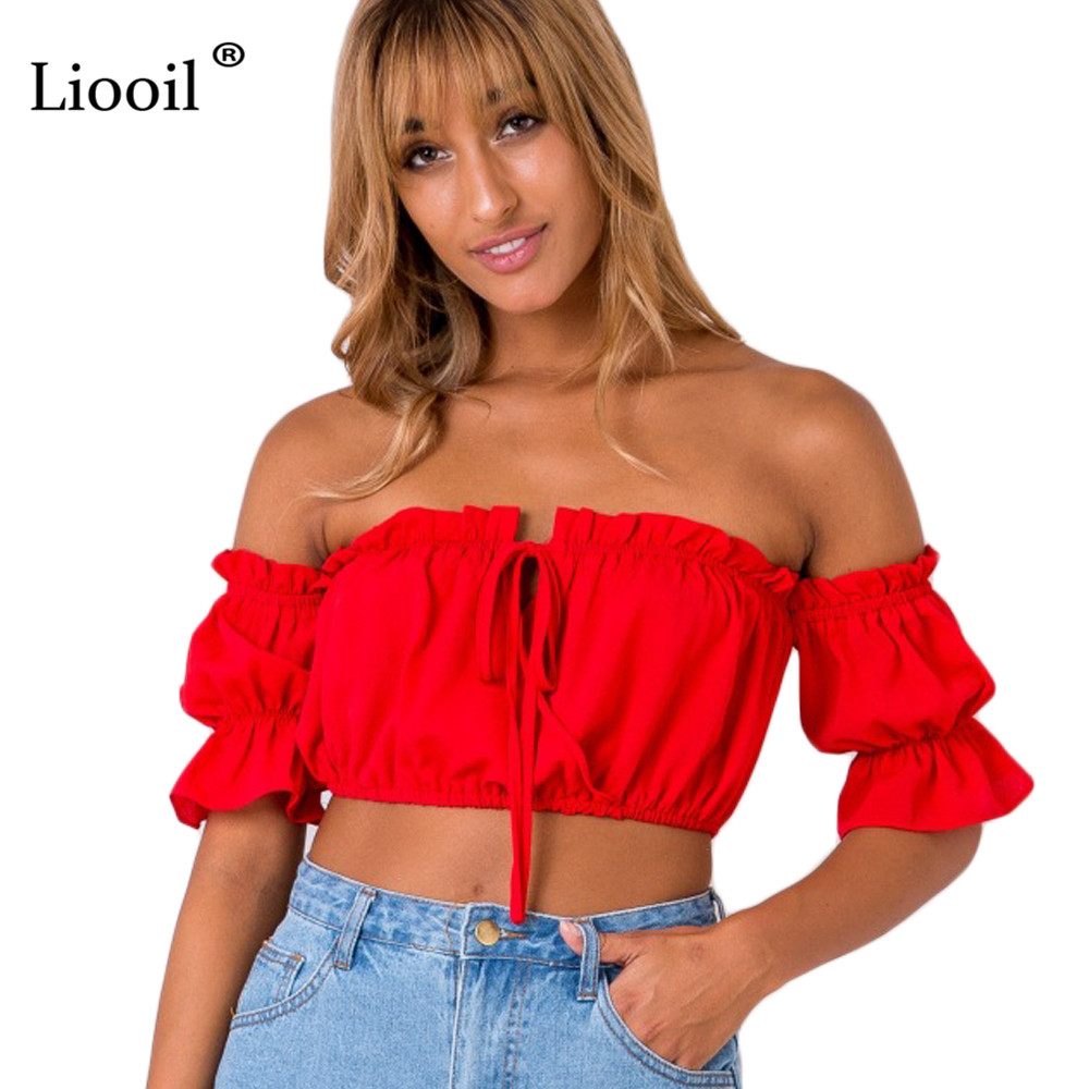 Szkzk Sexy Elastic Ruffle Crop Tops 2018 Summer Women Off Shoulder Lace Up Ruched Tank Tops Casual Beach Camis Crop Tops Female