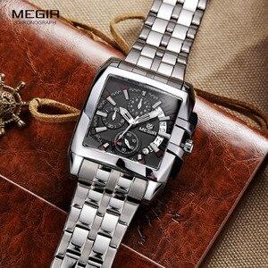 Image 4 - Megir 새로운 비즈니스 남자 쿼츠 시계 패션 브랜드 크로노 그래프 손목 시계 남자에 대 한 뜨거운 시간 남성 달력 2018