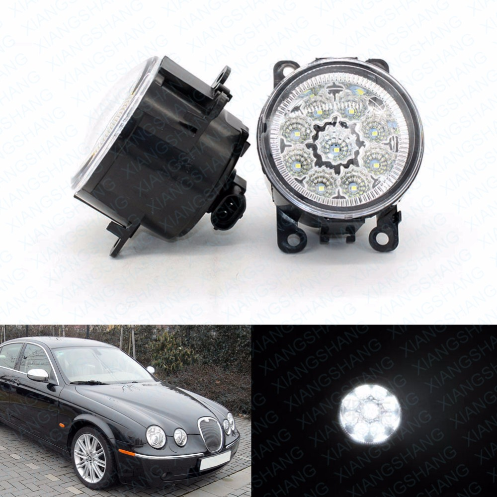 ФОТО 2pcs Car Styling Round Front Bumper LED Fog Lights DRL Daytime Running Driving fog lamps for Jaguar S-Type / X-Type 2004-2008