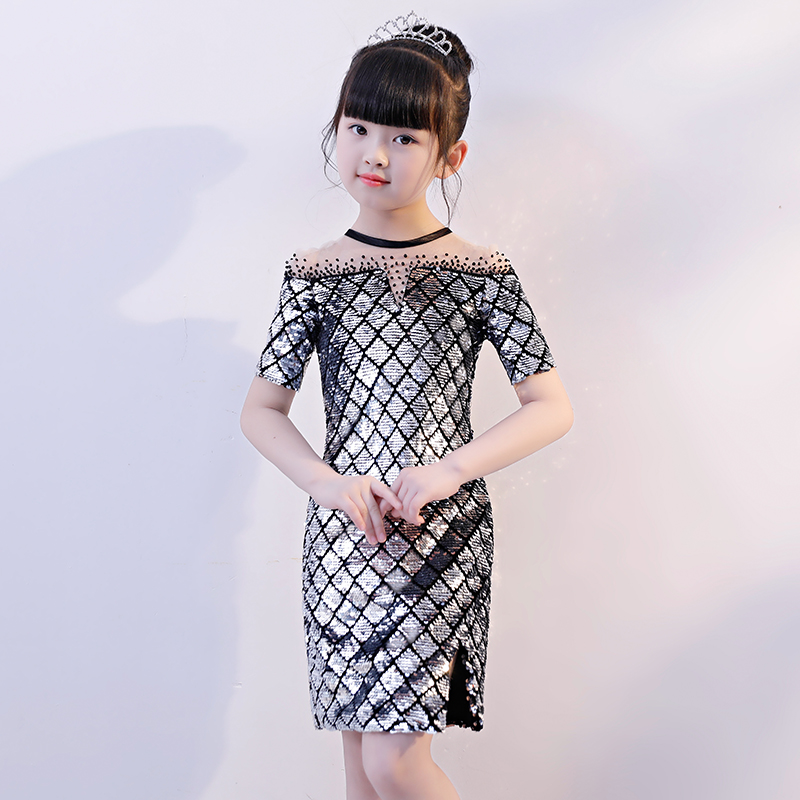 Silver Sequined Girls Party Dress Kids Pageant Dress for Birthday Costume Hollow Out Princess Girl Short Formal Dresses B163 casual scoop neck short sleeve sequined hollow out dress for women