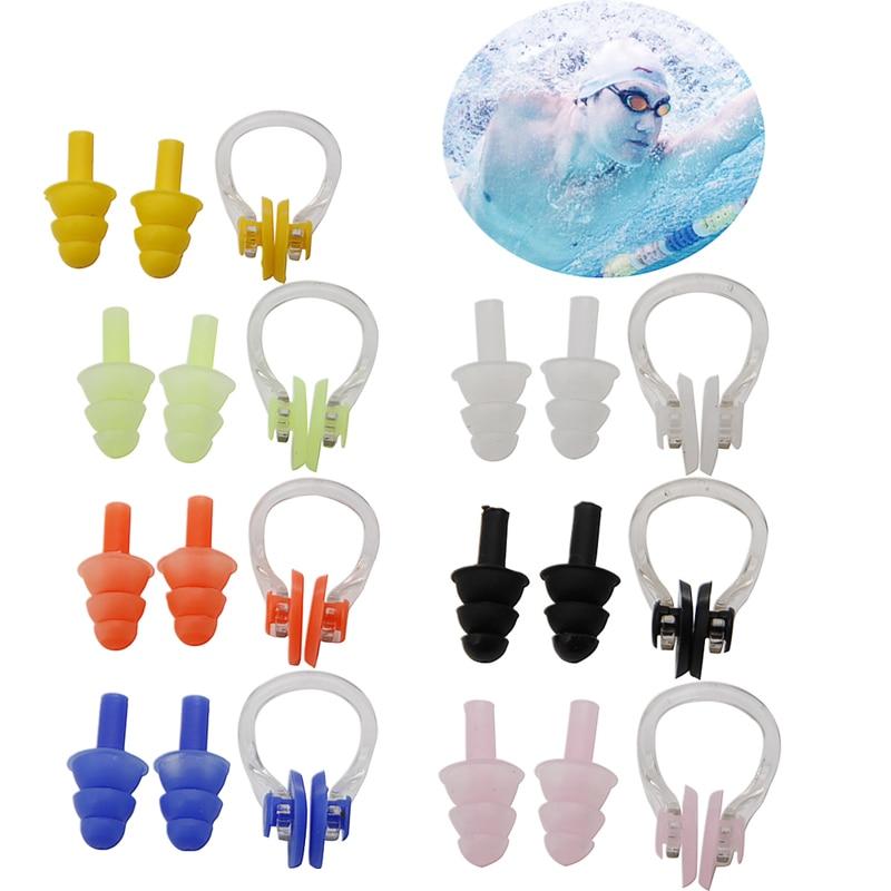 1 Set waterproof soft silicone swimming set nose clip ear plug earplug tool