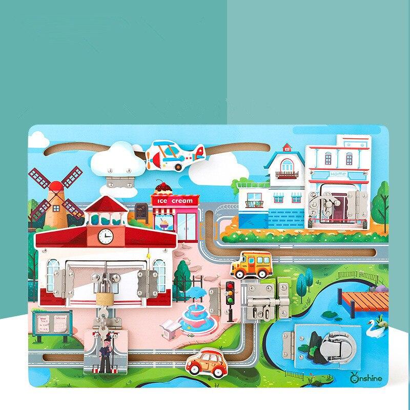 BRICOLAGE En Bois Jouet Éducatif Enfants Déverrouillage Jouet Cognitive Bébé D'apprentissage Sensorielle Jouets Montessori Aides Pédagogiques Montessori Juguetes