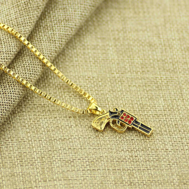 Feimeng مجوهرات الهيب هوب عوزي بندقية قلادة شخصية الراب روك الذهبي الأحمر كريستال Postol قلادة قلادة للنساء الأزياء الهدايا