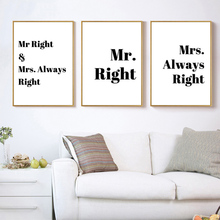 Minimalist Quotes Poster Canvas Art Print MR. MRS. Always Right Quote Nordic Modern Painting Wall Home Decor