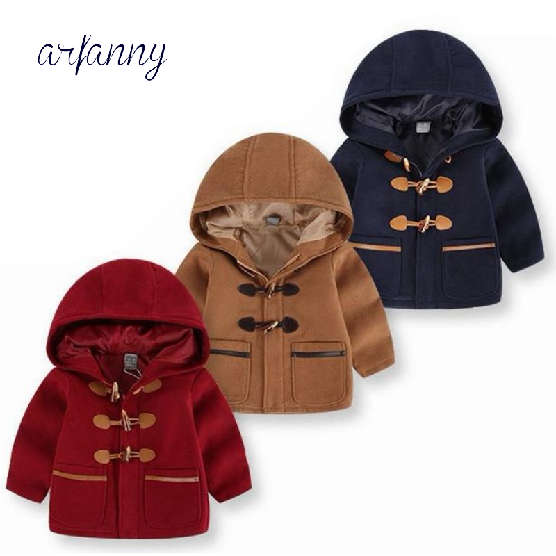 Fashion Boys Jacket 2 3 4 5 6 7 Year Baby Boy Horn Button Woolen Coat Children's clothing Autumn kids Hooded jacket clothes one button design longline woolen coat page 7