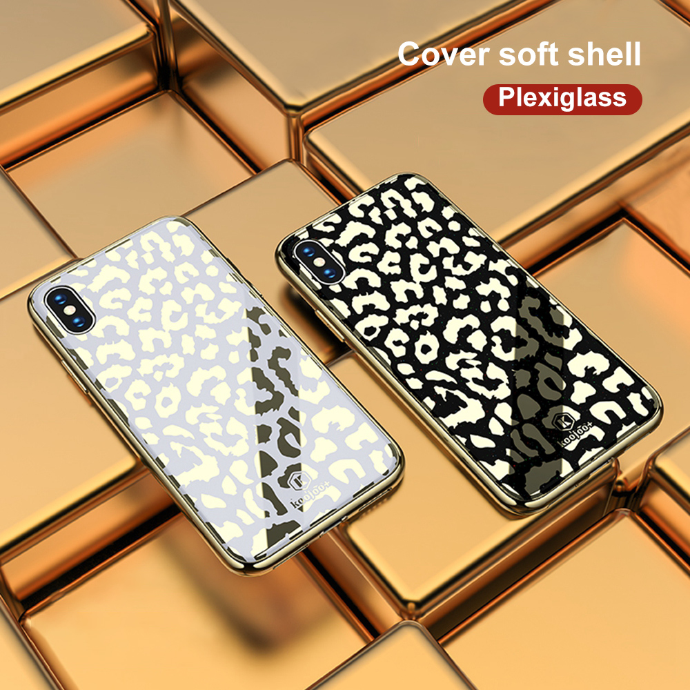 Image 5 - OTAO New Plating Glass Leopard Print Case For iPhone 7 8 Plus 6 6S Soft TPU Edge Case For iPhone X XS MAX XR Hard PC Cover Coque-in Fitted Cases from Cellphones & Telecommunications