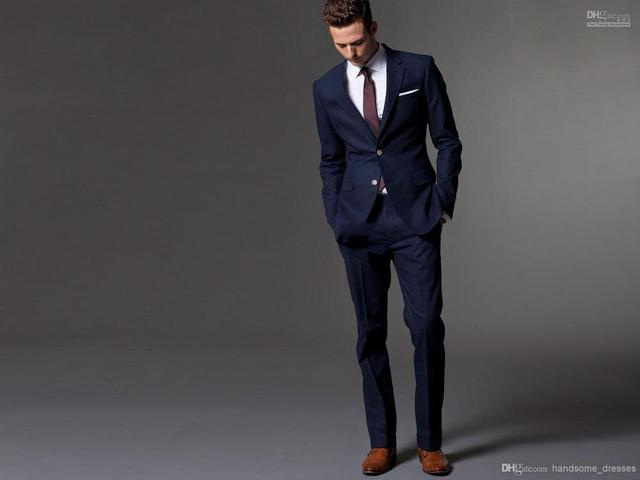Custom Made Dark Blue Men Suit, Tailor Made Suit, Bespoke Men Wedding Suit, Slim Fit Groom Tuxedos For Men(Jacket+Pants)