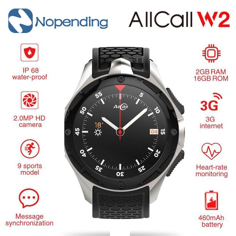 D'origine ALLCALL W2 3g Montre Intelligente Téléphone Android 7.0 MTK6580 Quad Core 1.3 ghz 2 gb/16 gb GPS bluetooth 4.0 Montre-Appel Message