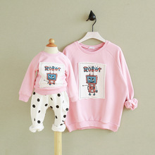 Mom's and Kid's Fashion Printed Hoodies