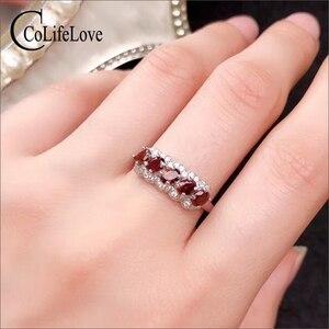 Image 1 - CoLife Jewelry anillo granate de plata 925 para niña, 5 piezas, anillo plata granate Natural VVS, joyería de granate de plata, regalo de cumpleaños