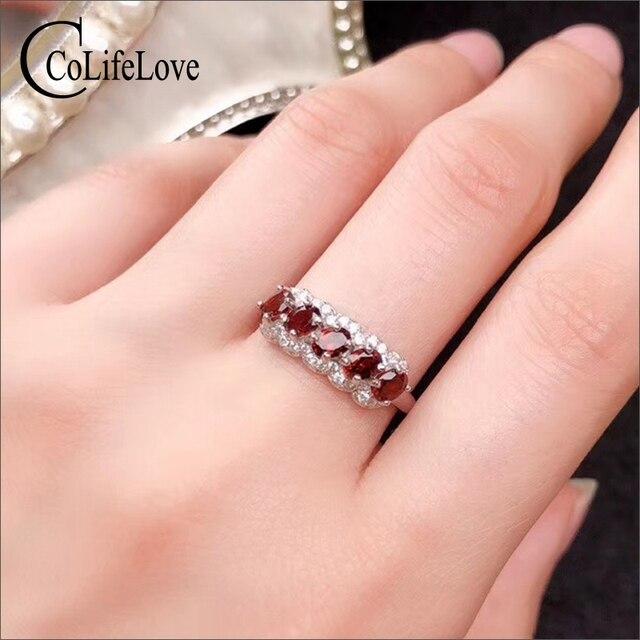 CoLife Jewelry anillo granate de plata 925 para niña, 5 piezas, anillo plata granate Natural VVS, joyería de granate de plata, regalo de cumpleaños