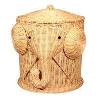 Слон плетеная корзина для белья тканые корзина одежда Bin с крышкой хлопок большой корзины для хранения коробка игрушечные лошадки для ванно