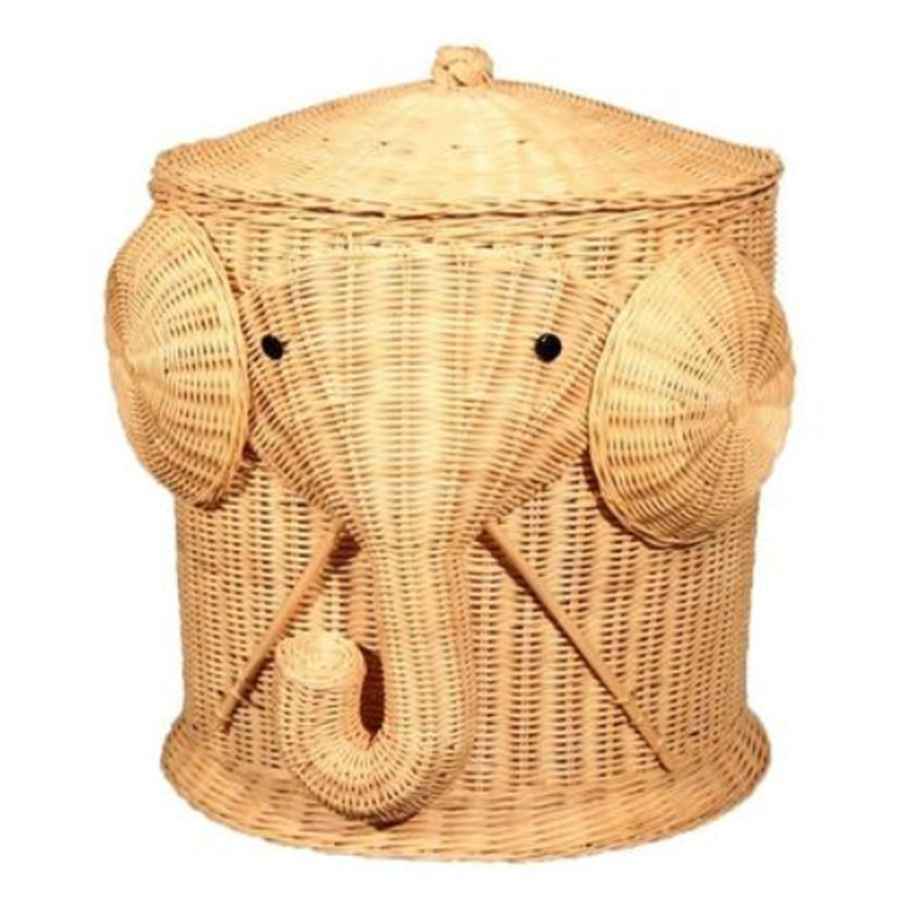 Elephant Wicker Laundry Hamper Woven Basket Clothes Bin with Lid Cotton Large Storage Baskets Box for Toys Bath Baby Kid Child box clutch purse