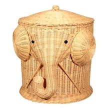 Elephant Wicker Laundry Hamper Woven Basket Clothes Bin with Lid Cotton Large Storage Baskets Box for Toys Bath Baby Kid Child(China)