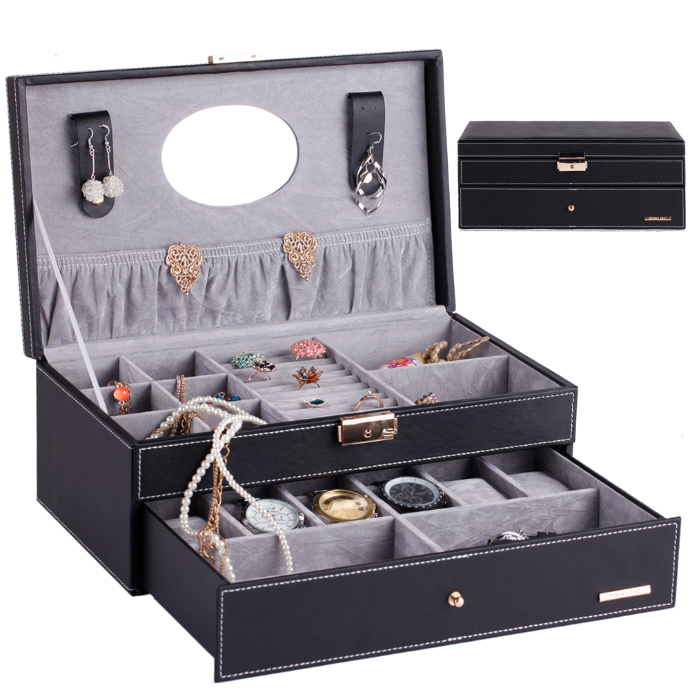 ROWLING PU Leather 2 layers Watch Boxes Packaging 6 Grids Mirror Jewelry Display Case Fashion Storage Organizer Box Holder BG052 цена 2017