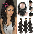 Malibu Dollface Pre Plucked 360 Lace Frontal With 3pcs Brazilian Body Wave Hair Bundles 360 lace frontal with bundles 4pcs/lot
