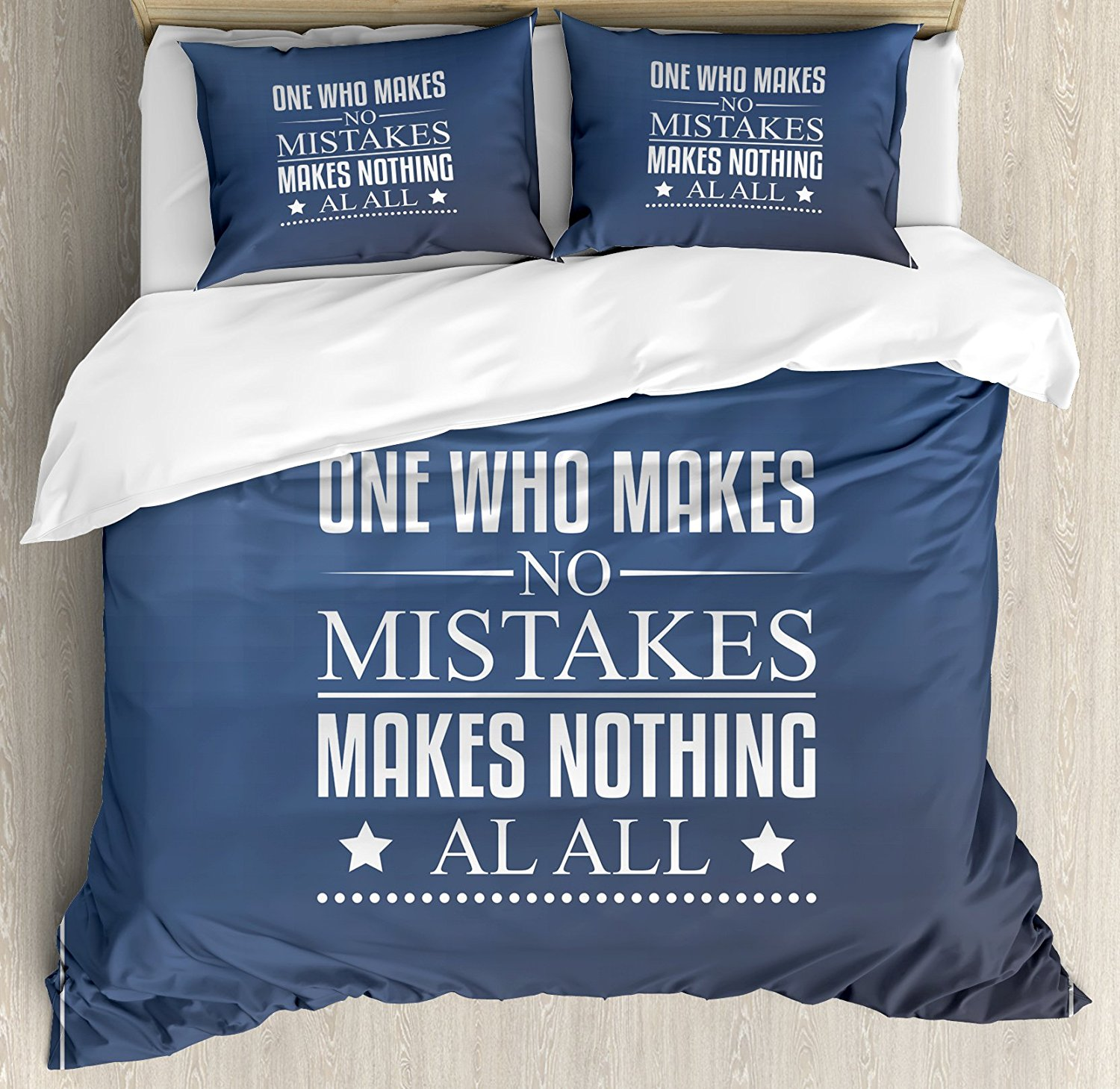 Motivational Duvet Cover Set Wise Words About Learning From Your Mistakes With Vintage Hipster Design 4 Piece Bedding Set