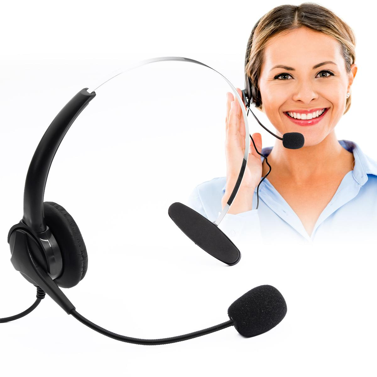 Headphone Call-Center Crystal-Head Cancelling Hands-Free RJ11 With Mic For Desk Binaural