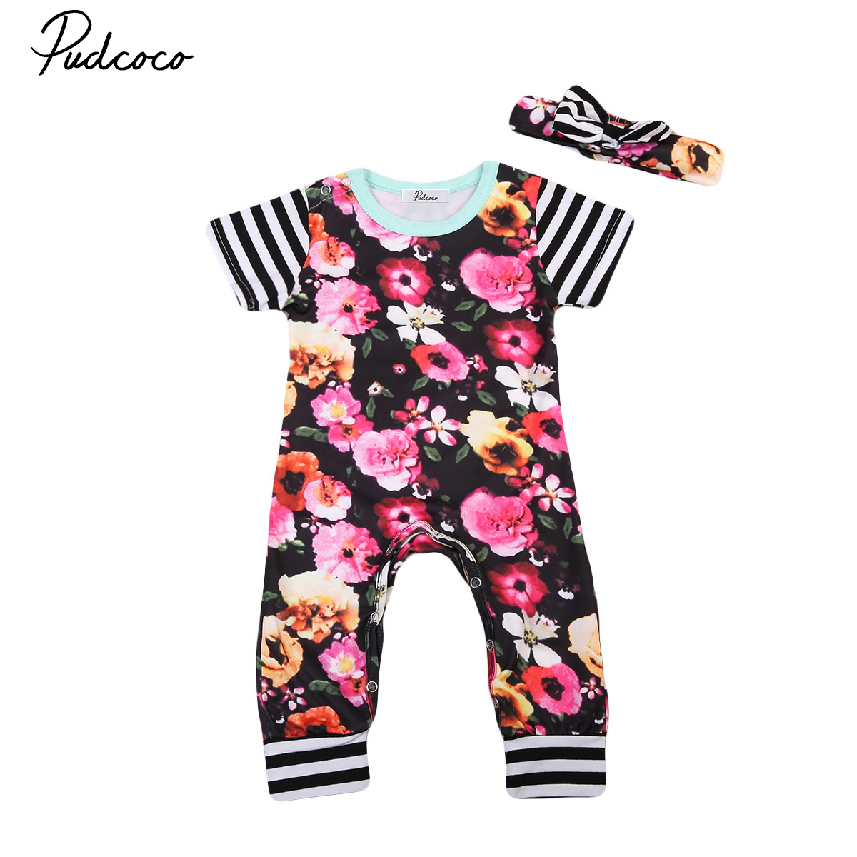 Pudcoco Newborn Infant Baby Girls Clothes Short Sleeve Floral Romper +Headband Summer Cute Cotton One-Piece Clothes 3pcs set newborn infant baby boy girl clothes 2017 summer short sleeve leopard floral romper bodysuit headband shoes outfits