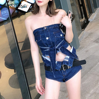 FTGSDONG 2019 Summer 2 Piece Denim Set Two Piece Shorts and Top Set Street Fashion Lace Up Strapless Top + Sexy Mini Shorts Belt