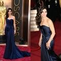 2017 Oscars Strapless Da Sereia Vestido de Noite Sandra Bullock Oscars Celebridade Do Tapete Vermelho Vestido de Cetim Azul Marinho