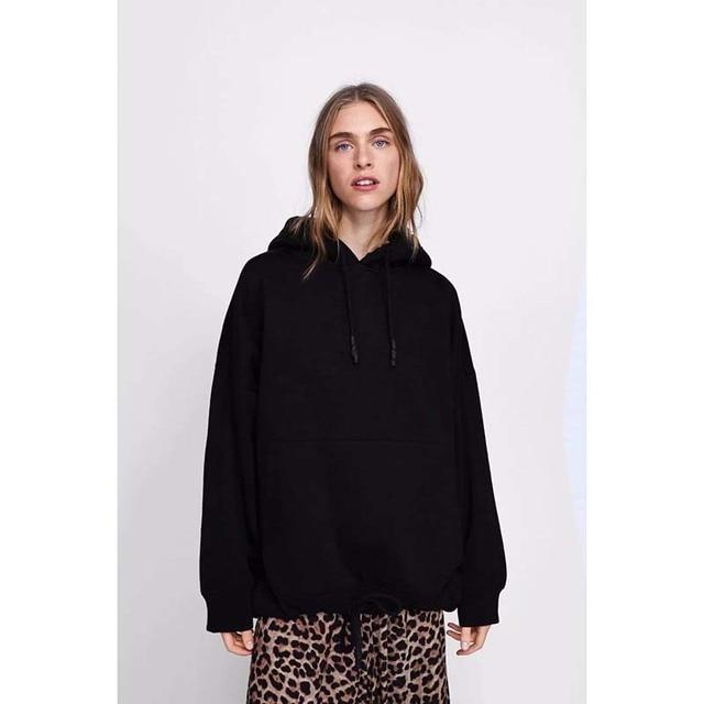 YOCALOR Women Harajuku Cotton Hoodies Solid Patchwork Pockets Regular Oversize Sweatshirt Plus Size Tops Hoodies 2