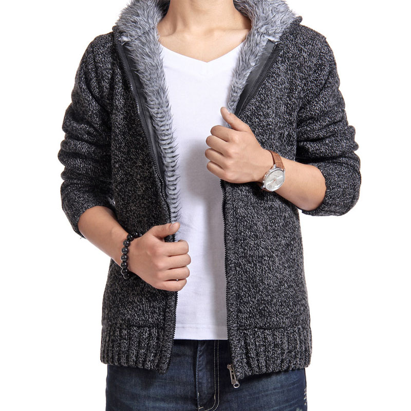 Winter Man Sweater Casual Mens Cardigan British Thick Fur Lining Warm Fleece Sweaters 0uterwear Brand New Male Hooded Sweaters