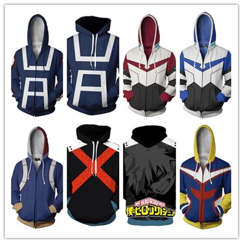 My Hero Academia Todoroki Shoto Campus Hoodies Sweatshirts Cosplay Costume Zipper Hooded sweater Unisex Mans
