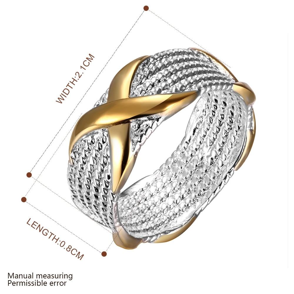 Toptan Fiyat Gümüş Kaplama erkek Yüzük Altın Renk Ile X çapraz - Kostüm mücevherat - Fotoğraf 3