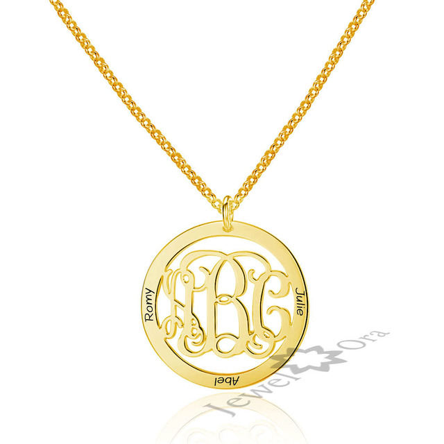 monogram disc necklace personalized engraved initial disc pendant