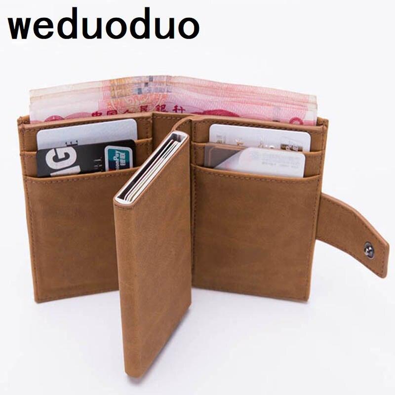 2019 Novo Estilo Titular Do Cartão RFID id titulares de cartão de Homens Carteira De Metal Minimalista Bloqueio Do Cartão de Crédito de Alumínio titular