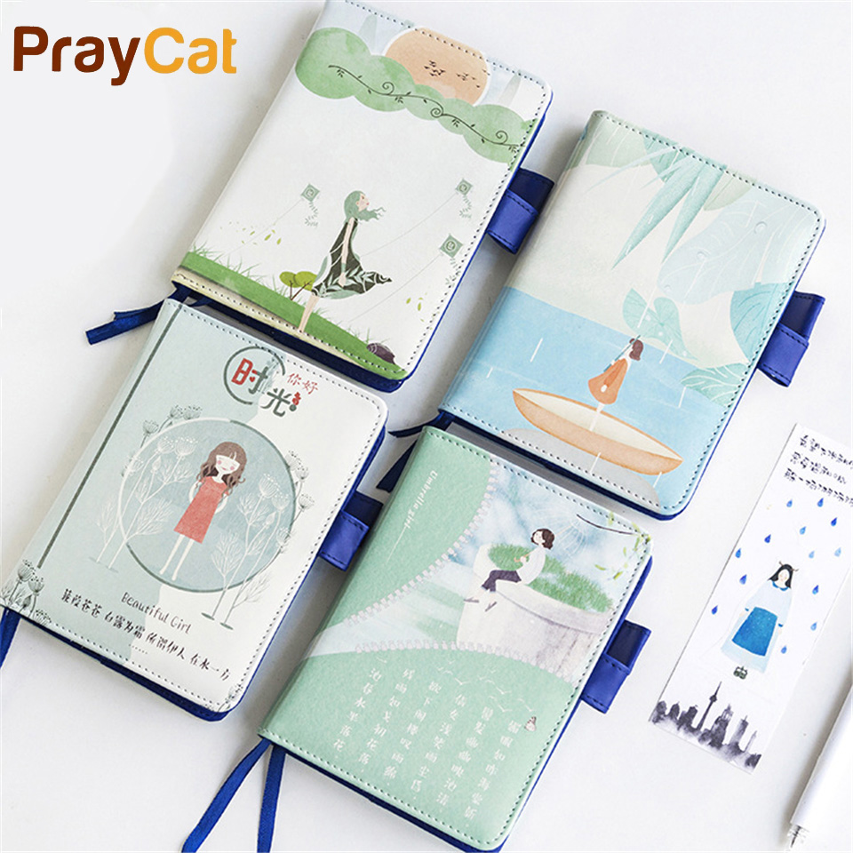 A6 Kawaii Girl Planner Leather Notebook Cute Notepad Day Week Month Blank Pages Travel Journal Stationery Office Supplies 1pc kawaii and cute notebook paper lovely red hat girl agenda week day planner journal record stationery office school supplies