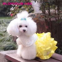 2015 Luxury Princess Small Dog Wedding Dress XXS Dog Clothes Summer With Polka Dot Satin Ribbon