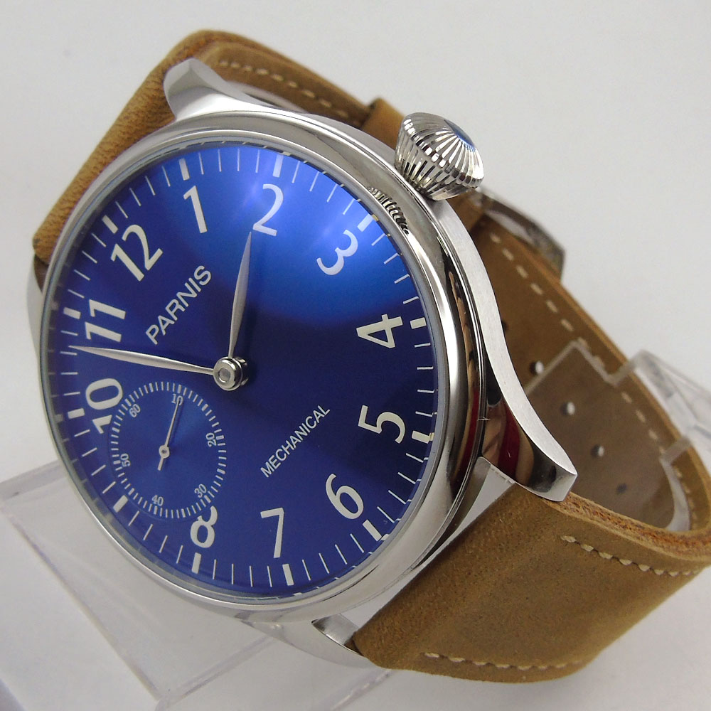 Romantic Valentines gifts 44mm parnis Blue Dial Stainless steel Case Leather strap 6497 Hands Wind Movement men's Watch