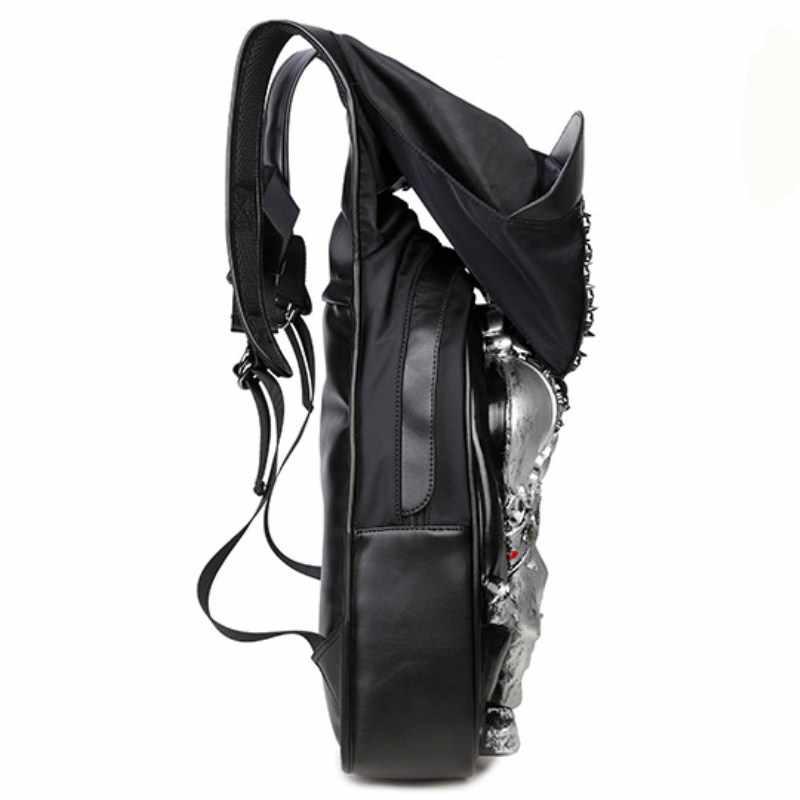 Hombre nuevo paquete de bolsas con capucha tapa 3D personalidad de la moda cráneo cuero Mochila De Cuero remaches ropa bolsa japonés bolso mochila