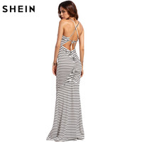 SheIn Sexy Long Summer Dresses For Women Casual Ladies Spaghetti Strap White Striped Criss Cross Shirred