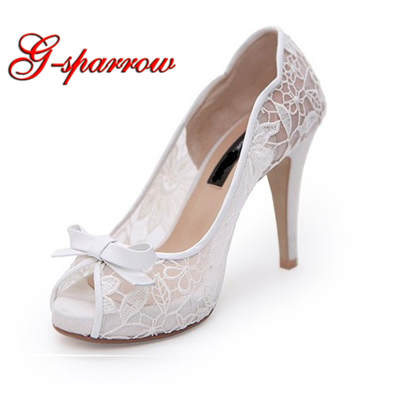 Wedding Shoes Customized Lace Flower High Heel Bride Party Formal Dress Shoes White Color Peep Toe Women Spring Shoes Size 41 fashion white lady peep toe shoes for wedding graduation party prom shoes elegant high heel lace flower bridal wedding shoes