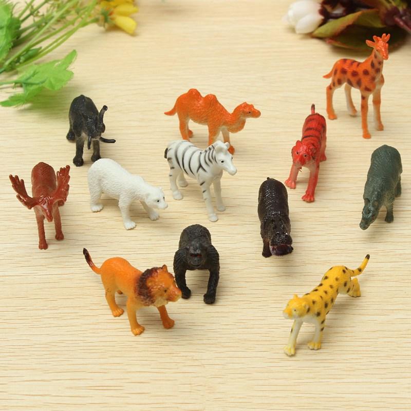 12PCS/set Plastic Zoo Animal Figure Tiger Leopard Hippo Giraffe Kids Toy Lovely Animal