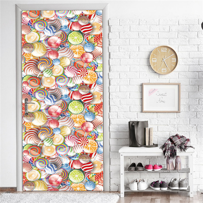 Self-adhesive Door Wallpaper Colorful Lollipops PVC Stickers For Doors Living Room Bathroom Children Bedroom Decor Sticker Porte