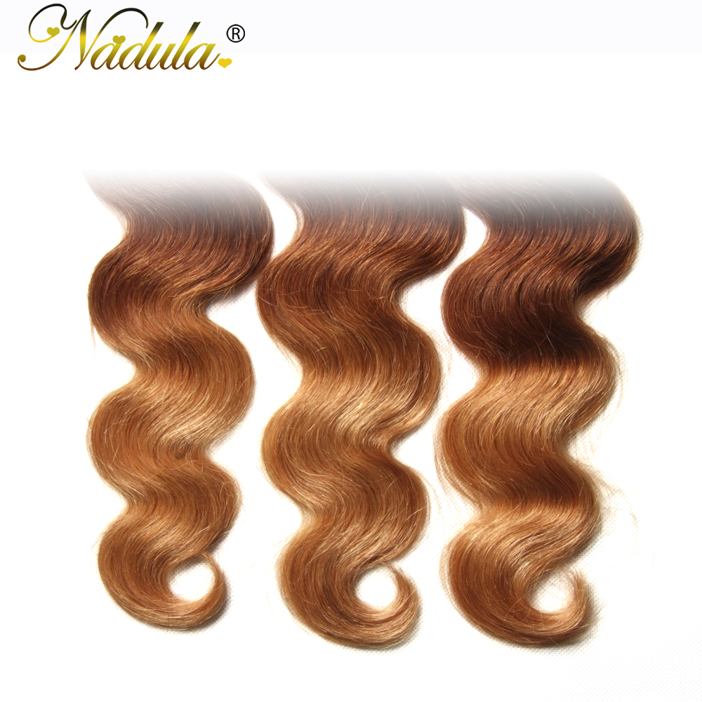 Nadula Hair  Body Wave Ombre Hair Bundles T1B/4/27 3 Tone  Hair s Machine Double Weft 1Bundle Can Be Mixed 6