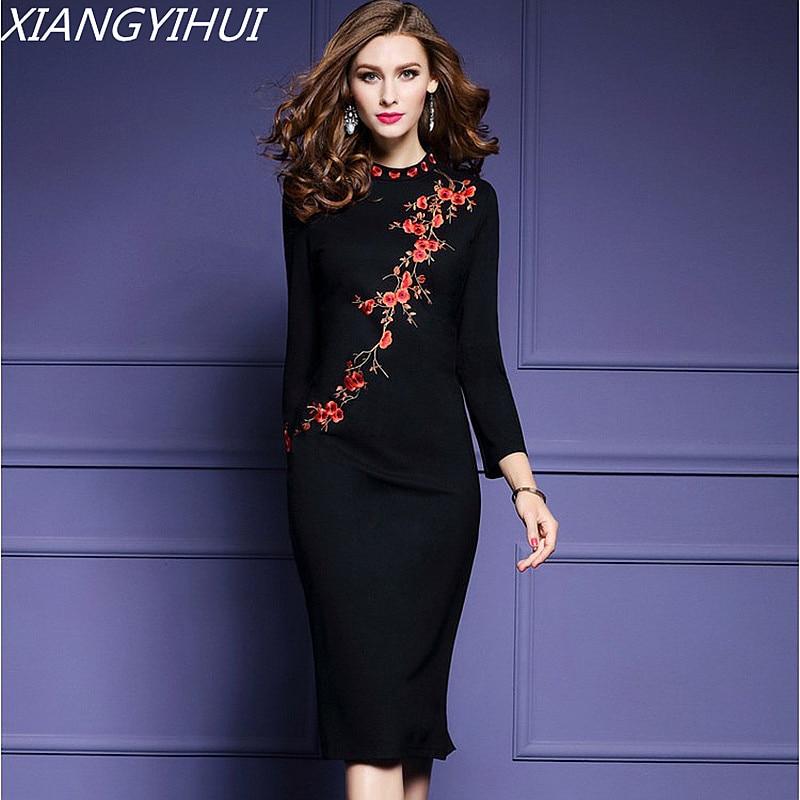 2018 Womens Plum Flow Embroidery Dress Elegant O-neck Long Sleeve Black Bodycon Evening Party Dress Plus Size S-3XL Vestidos