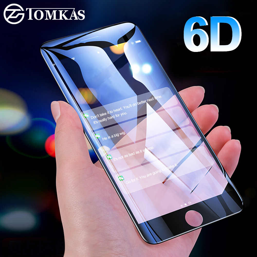 TOMKAS 6D Curved Edge Glass For iPhone 6 6S Screen Protector Tempered Film For iPhone 8 7 6 6S Plus Protective Glass Film