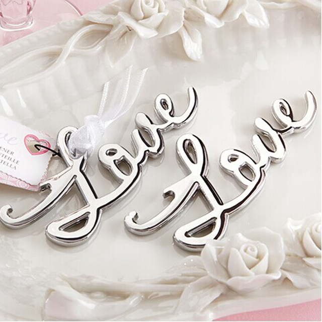60pcs Lot Silver Color Love Themed Beer Bottle Opener Bridal Shower Favors And Gift Wedding