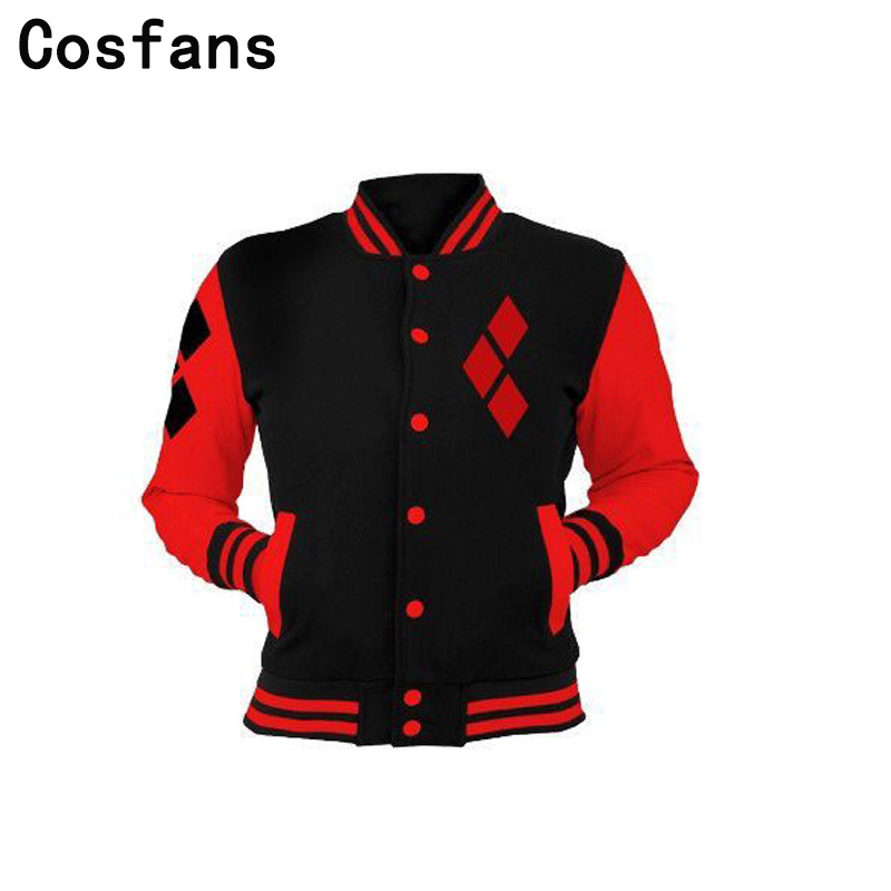 COSFANS New 2018 Suicide Squad Harley Quinn Cosplay Costumes Casual Sports Buttons Down Gym Sweatshirt ladies/Men Fleece Jackets