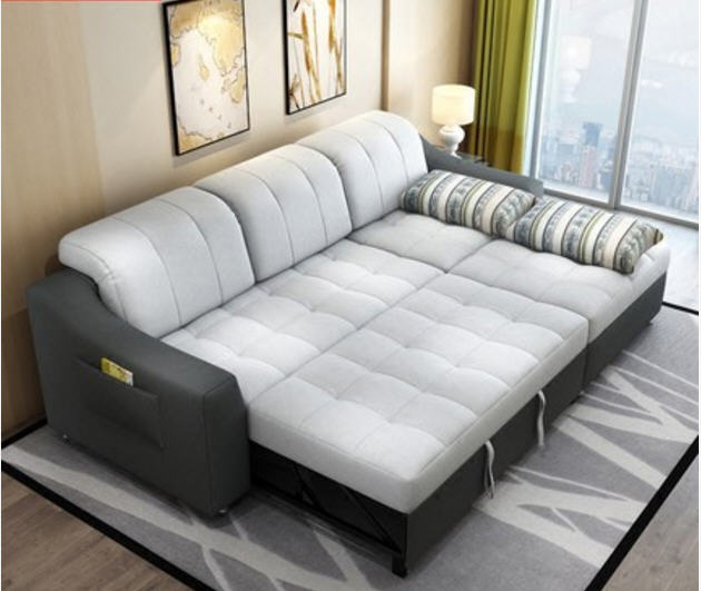 Sofa-Bed Fabric Living-Room-Furniture Corner Functional Modern with Storage Cloth Headrest