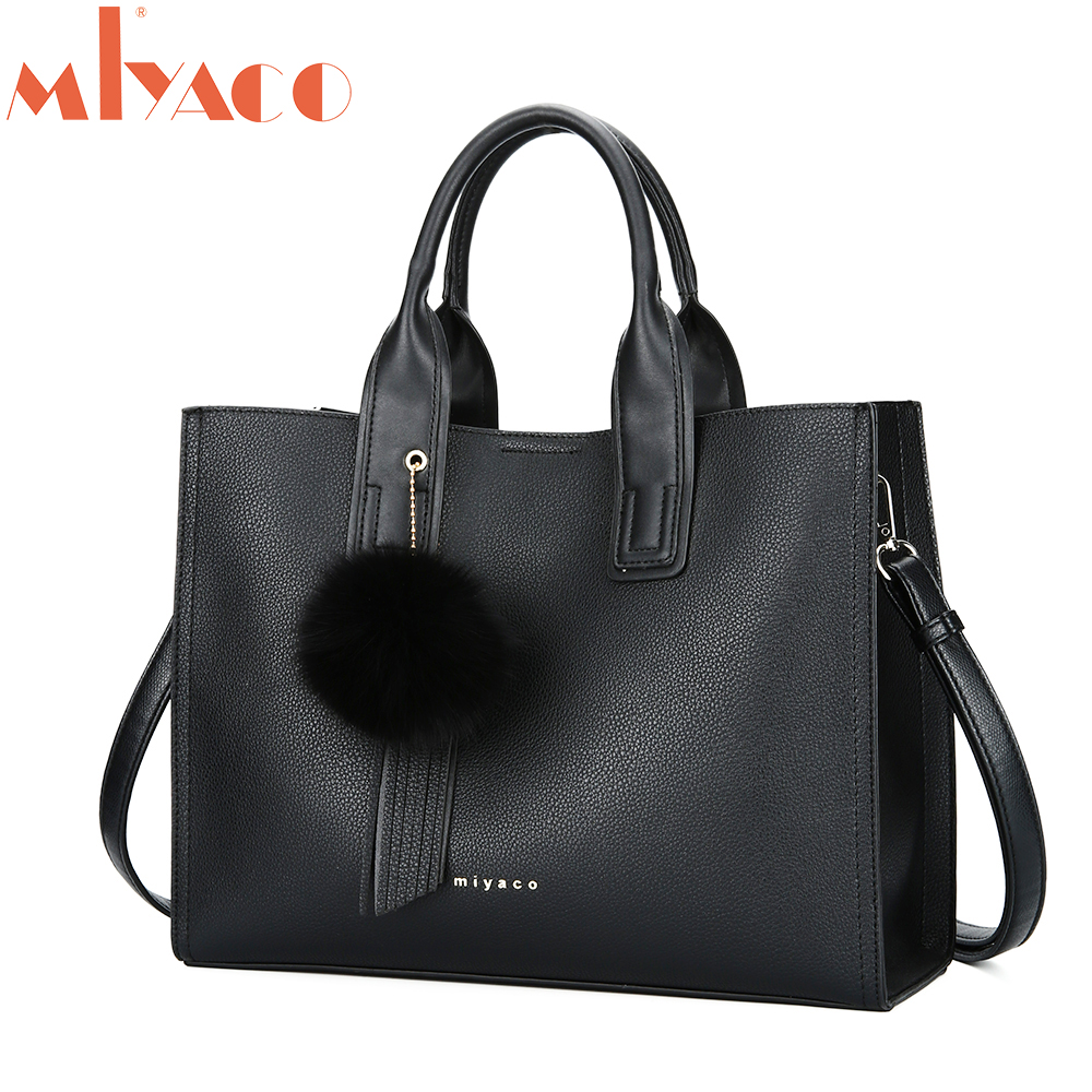 MIYACO Handbag for Women Leather Tote Bags Designer Handbags Elegant Crossbody Bags Ladies Hand Bags with Tassel&Furry ball цены онлайн