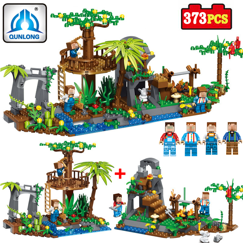 Qunlong Toys 2 In 1 Village Forest Building Blocks Compatible Legoings Minecrafted City Bricks Enlighten Toys For Children Gifts 0367 sluban 678pcs city series international airport model building blocks enlighten figure toys for children compatible legoe