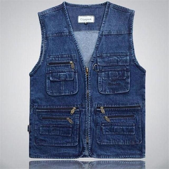Plus Large Size 3XL 4XL 5XL Men's Spring and Autumn Multi-pocket Denim Vest Photography Casual Coat Vest Plus size